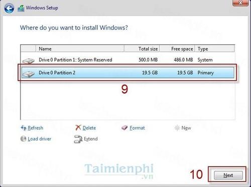 Bước 7: Chọn ổ đĩa cứng muốn cài đặt hệ điều hành lên, nhấn Next