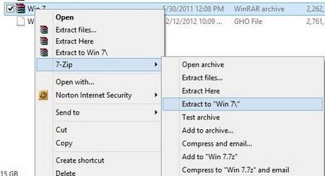 Bước 1: Tắt hết các chương trình mà bạn dang chạy, sau đó hãy chắc chắn rằng file Win 7 của bạn đang nằm ở phân vùng khác với phân vùng mà bạn định cài đặt. Giải nén file file cài bằng phần mềm giải nén mà bạn đang có, tại đây taimienphi.vn sử dụng giải nén bằng phần mềm 7ZIP.