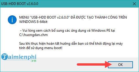 Một thông báo nữa hiện lên hướng dẫn bạn sử dụng cũng như việc cài hệ thống boot vào ổ cứng đã hoàn tất.