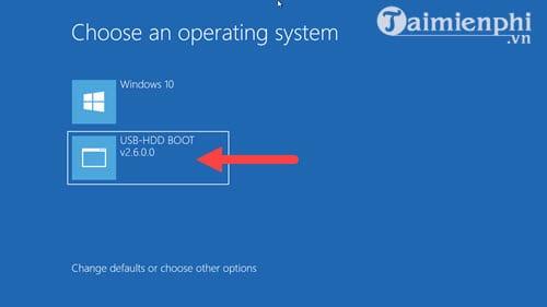 Khi tiến hành khởi động lại máy bạn sẽ thấy đột nhiên xuất hiện thêm một sự lựa chọn khi vào Windows nữa mang tên USB-HDD BOOT, đó chính là phần mềm mà chúng ta vừa cài vào và hãy nhấn vào đó để có thể tiến hành ghost Windows 10, 8.1, 7 từ ổ cứng nhé