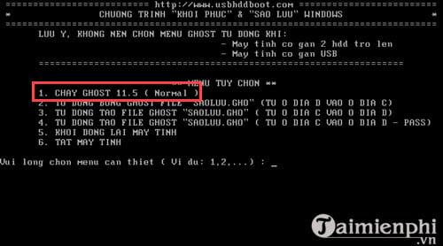 Bước 5: Một giao diện DOS nữa sẽ xuất hiện, hãy nhấn số 1 và hệ thống sẽ tự động chuyển bạn vào giao diện của phần mềm GHOST.