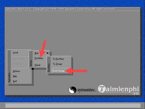 """Bước 7:Để ghost Windows 10, 8.1 ,7 từ ổ cứng bạn phải chọnLocal>Partition>From Imagenhé."""" width=""""500″ height=""""375″></p> <p><strong>Bước 8:</strong>Tiếp đó là lựa chọn ổ cứng, nơi chứa file ghost mà bạn đã tải về máy trước đó.</p> <p><strong>Lưu ý:</strong>Không được để file ghost trong ổ bạn cần ghost lại máy.</p> <p><img class="""