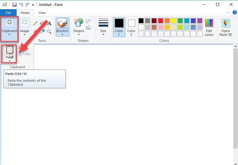 """Bước 3: Giao diện phần mềm được hiển thị -> kích chọn Clipboard -> Paste thực hiện dán ảnh vừa chụp lên Paint:"""" width=""""722″ height=""""501″></p> <p>– Hoặc nhấn tổ hợp phím<strong>Ctrl + V</strong>hình ảnh vừa chụp được hiển thị trên Paint:</p> <p><img class="""