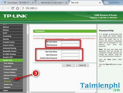 """Bước 3: Truy cập System Tools >Password để mở trang cấu hình tên đăng nhập và mật khẩu quản trị router, modem TP-link."""" width=""""498″ height=""""380″></p> <p><em>Bước 4:</em>Nhập các thông tin vào các mục sau:</p> <p><strong>– Old User Name</strong>: Tên đăng nhập quản trị modem, router cũ</p> <p>–<strong>Old Password</strong>: Mật khẩu quản trị modem, router cũ</p> <p>–<strong>New User Name</strong>: Tên đăng nhập quản trị mới</p> <p><strong>– New Password</strong>: Mật khẩu quản trị mới</p> <p>–<strong>Confirm New Password</strong>: Xác nhận mật khẩu quản trị mới</p> <p><img class="""