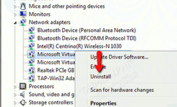 Bước 2:Trên cửa sổ Device Manager, điều hướng đếnNetwork Adapters, sau đó tìm và kích chuột phải vào thiết bị mạng không dây, chọnUninstall