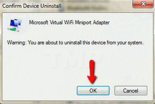 Bước 3: Trên màn hình sẽ hiển thị cửa sổ cảnh báo yêu cầu xác nhận gỡ bỏ cài đặt thiết bị mạng không dây. Bạn chỉ cần click chọn OK để tiếp tục.
