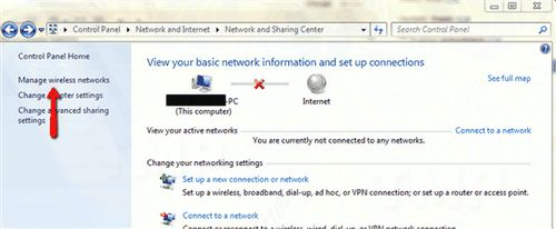 Bước 1:Trên cửa sổ Network and Sharing Center, tìm và click chọnManage wireless networks.