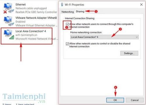 Bước 5: Click tiếp vào Change adapter settings (Thay đổi thiết lập kết nối).
