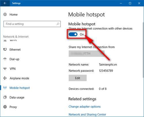 Bước 4: Khi đã thiết lập xong, nhấn vào thanh trượt phía dưới Share my Internet connection with other devices chuyển sang On để bắt đầu phát wifi trên Windows 10.