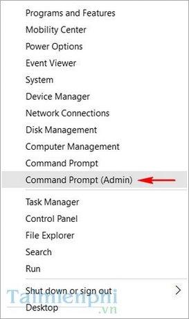 Bước 1:Nhấp chuột phải vào thanh Start Menu, sau đó chọnCommand Prompt (admin).