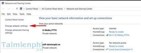Bước 4:Truy cập vàoOpen Network and Sharing Center(Trung tâm kiểm soát mạng và chia sẻ mạng)