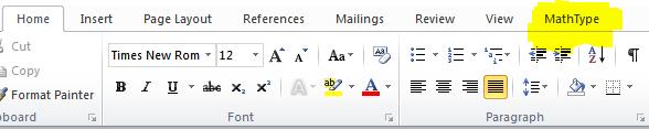 Mathtype trên thanh Menu bar không hiện ra.