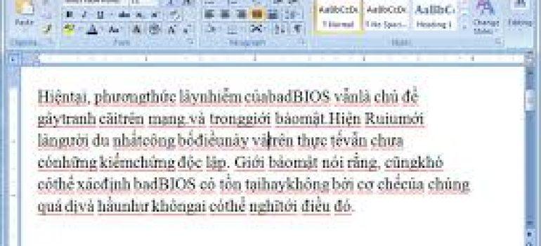 Khắc phục lỗi dính chữ trong word 2007,2010,2016
