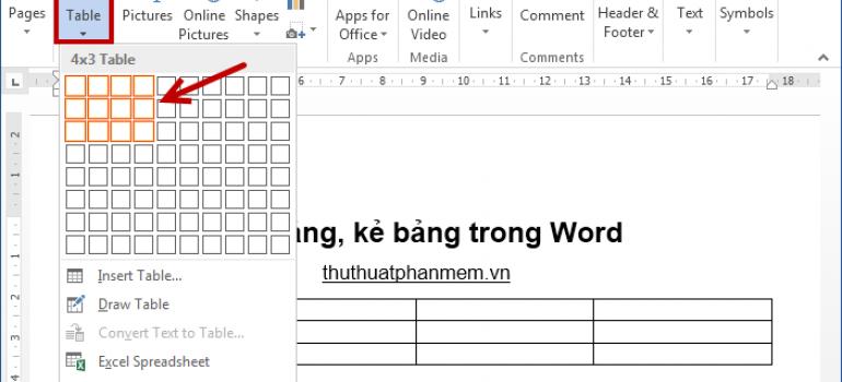 Cách tạo bảng, kẻ bảng trong Word