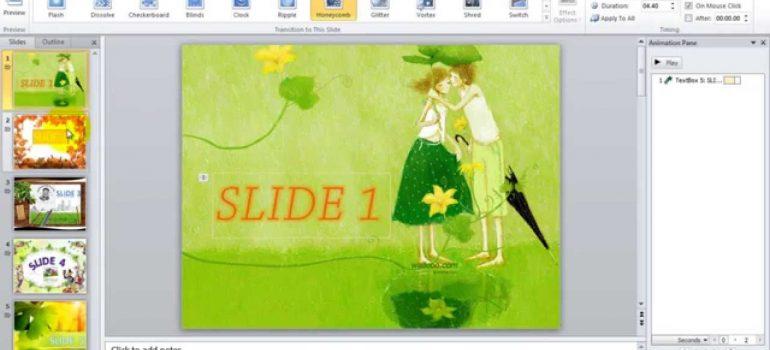 Hiệu ứng chuyển slide trong powerpoint 2003