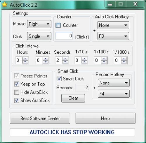 Giao diện phần mềm auto click 2.2